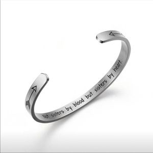Silver tone cuff bangle Sisters By Heart bracelet